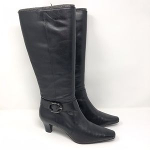 NEW Anne Klein Tall Leather Heel Boots